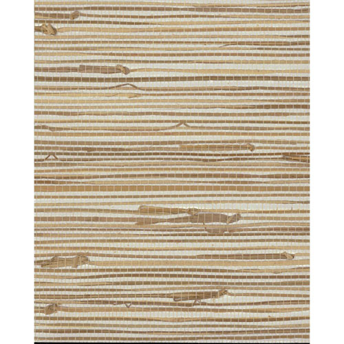 Grasscloth II Wide Knotted Grass Metallic Wallpaper