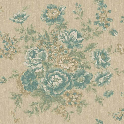 York Wallcoverings Rhapsody Champagne Beige and Teal Rose Tapestry Wallpaper: Sample Swatch Only