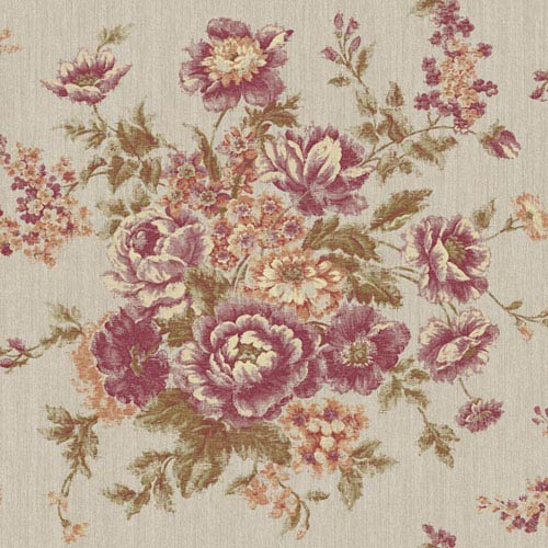York Wallcoverings Rhapsody Silver and Purple Grape Rose Tapestry Wallpaper: Sample Swatch Only