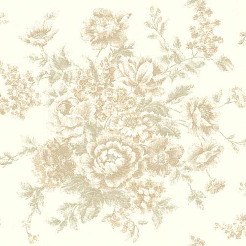 York Wallcoverings Rhapsody Pearl and Toasted Almond Rose Tapestry Wallpaper: Sample Swatch Only