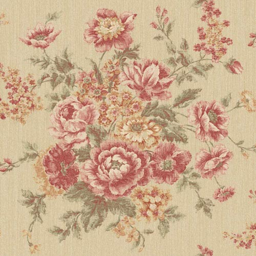 York Wallcoverings Rhapsody Gold and Cranberry Rose Tapestry Wallpaper: Sample Swatch Only
