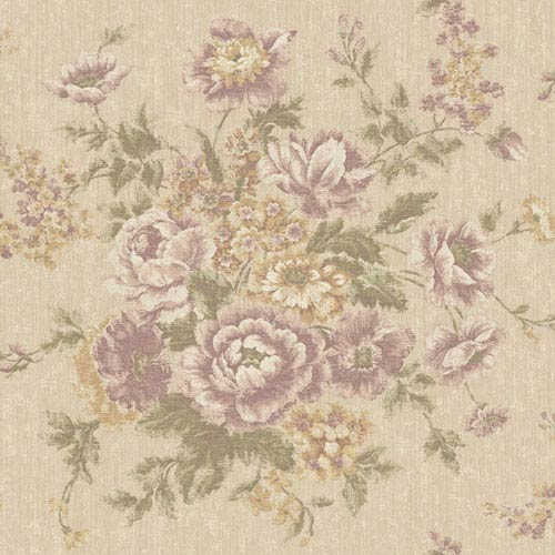 Rhapsody Beige and Wisteria Rose Tapestry Wallpaper: Sample Swatch Only