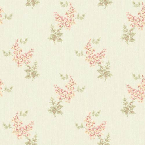 York Wallcoverings Rhapsody Pearl and Pink Floral Trail Wallpaper: Sample Swatch Only