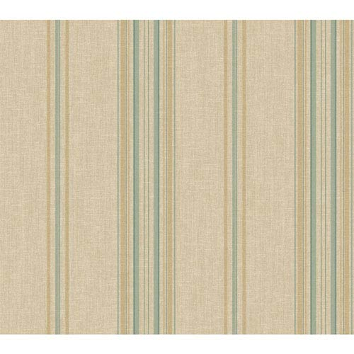 York Wallcoverings Rhapsody Champagne Beige and Teal Classic Stripe Wallpaper: Sample Swatch Only