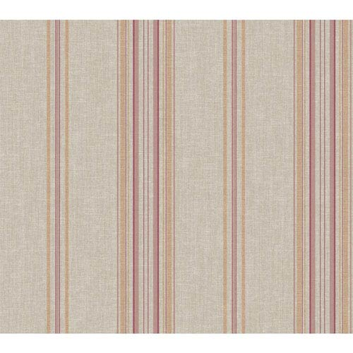 Rhapsody Silver and Red Grape Classic Stripe Wallpaper: Sample Swatch Only