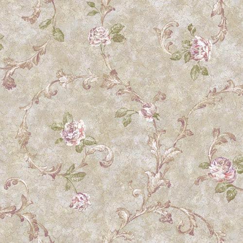 Rhapsody Silver Rose Scroll Wallpaper: Sample Swatch Only