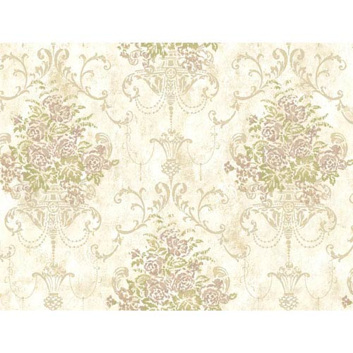 York Wallcoverings Rhapsody Cloud White Floral Urn Wallpaper: Sample Swatch Only