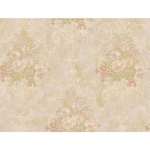 York Wallcoverings Rhapsody Pale Pink Floral Urn Wallpaper: Sample Swatch Only