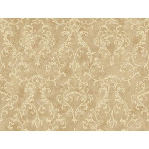 York Wallcoverings Rhapsody Sand and Gold Small Scroll Wallpaper: Sample Swatch Only
