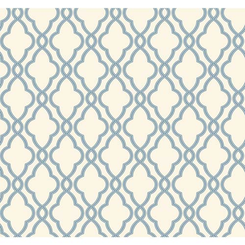 York Wallcoverings Waverly Classics Delft Blue and Pure White Wallpaper: Sample Swatch Only