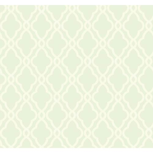 York Wallcoverings Waverly Classics Sea Foam Green and Cream Wallpaper: Sample Swatch Only