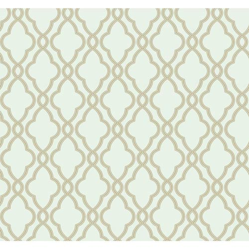 York Wallcoverings Waverly Classics Sea Foam Green and Cocoa Wallpaper: Sample Swatch Only