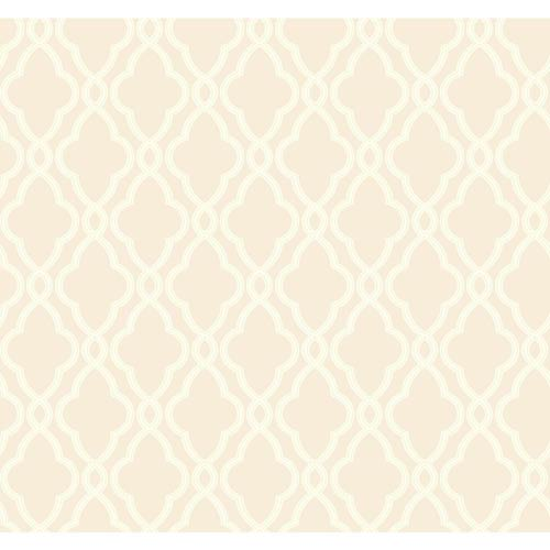 York Wallcoverings Waverly Classics Beige and Ecru Trellis Wallpaper: Sample Swatch Only