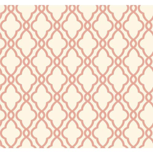 Waverly Classics Coral and Cream Wallpaper