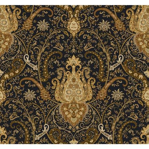 York Wallcoverings Waverly Classics Black, Amber, Rust, Ecru and Brown Wallpaper