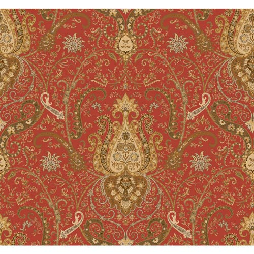 York Wallcoverings Waverly Classics Tomato, Buff, Amber, Cinnamon, Beige and Olive Wallpaper