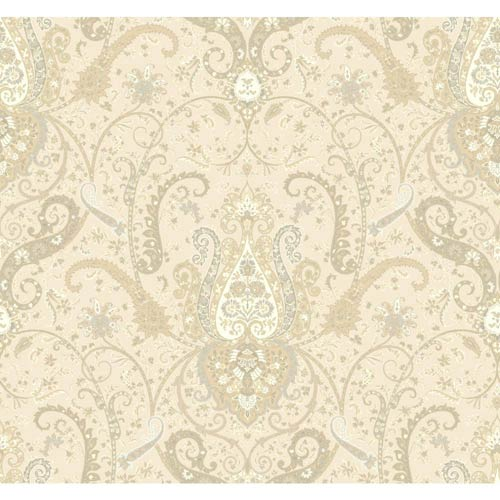 York Wallcoverings Waverly Classics Cream, Beige, Taupe and Gray Wallpaper