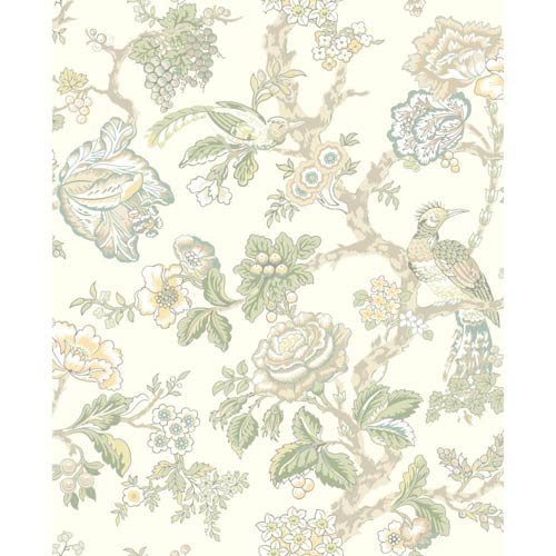York Wallcoverings Waverly Classics Cream, Sage, Teal, Aqua, Eggshell, Amber and Taupe Wallpaper: Sample Swatch Only