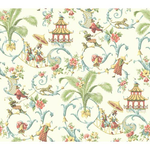 Waverly Classics Cream, Wedgwood blue, Coral, Amber and Sage Wallpaper