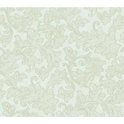 York Wallcoverings Waverly Classics Sea Foam and Pale Gray Wallpaper