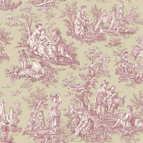 York Wallcoverings Waverly Classics Medium Taupe, Cranberry and Cream Wallpaper