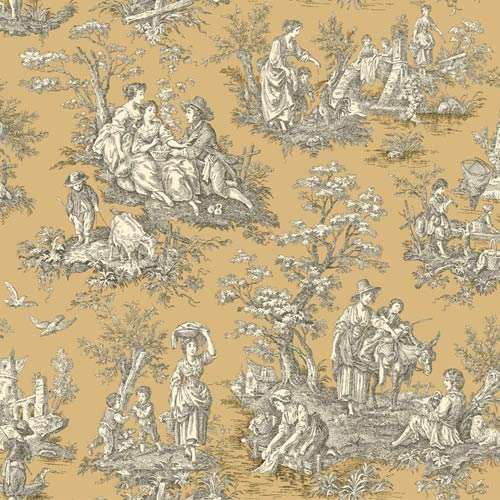 York Wallcoverings Waverly Classics Caramel, Cream and Black Wallpaper: Sample Swatch Only