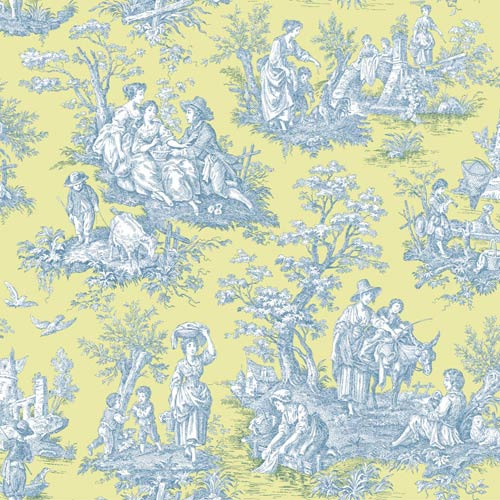Waverly Classics Spring Green, Prussian Blue and White Wallpaper