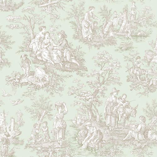 York Wallcoverings Waverly Classics Sea Foam Green, Taupe and Cream Wallpaper