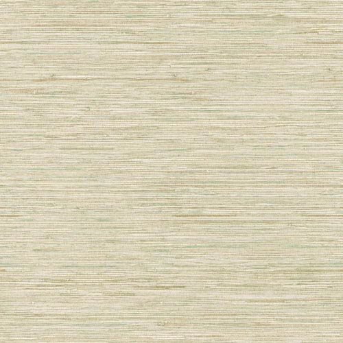 Ashford House Tropics Cream and Tan Horizontal Grasscloth Wallpaper