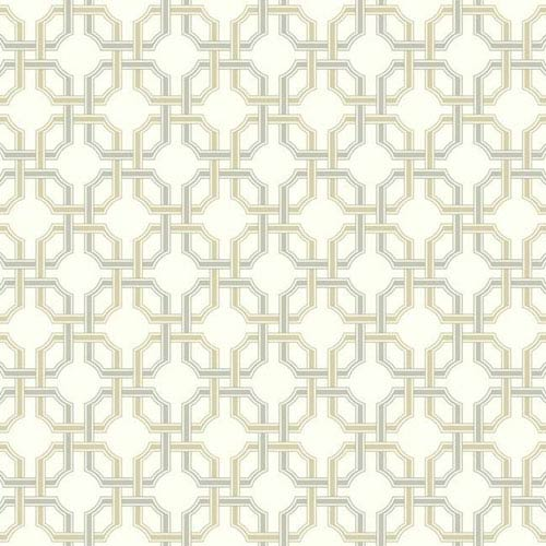 Waverly Classics I Groovy Grill Removable Wallpaper Metallic and Beige Wallpaper- Sample Swatch Only