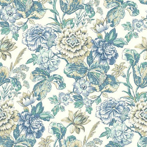 York Wallcoverings Waverly Classics I Sonnet Sublime Removable Wallpaper Blue Wallpaper- Sample Swatch Only