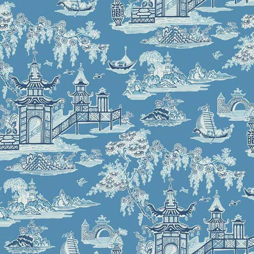Waverly Classics I Peaceful Temple Removable Wallpaper Blue Wallpaper- Sample Swatch Only