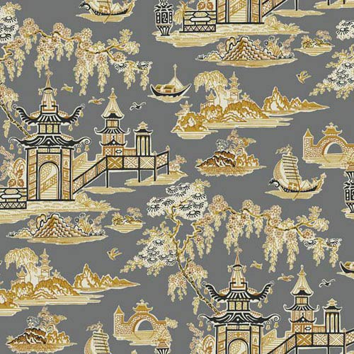 Waverly Classics I Peaceful Temple Removable Wallpaper Black Wallpaper- Sample Swatch Only