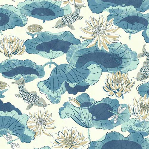 York Wallcoverings Waverly Classics I Lotus Lake Removable Wallpaper Blue Wallpaper- Sample Swatch Only