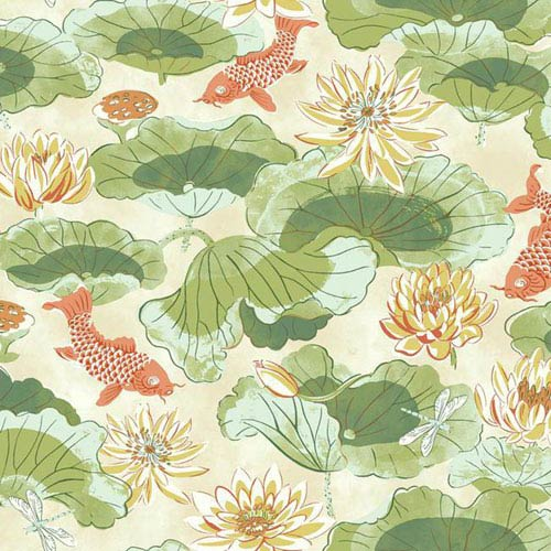 Waverly Classics I Lotus Lake Removable Wallpaper Greens Wallpaper- Sample Swatch Only