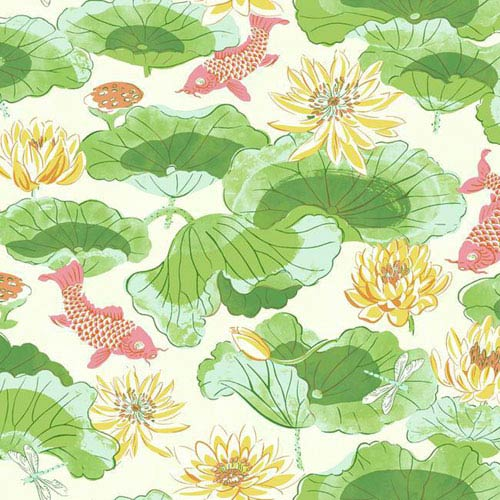 York Wallcoverings Waverly Classics I Lotus Lake Removable Wallpaper Greens Wallpaper- Sample Swatch Only