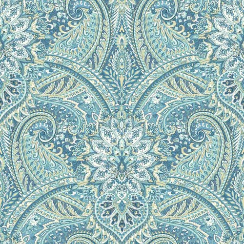 Waverly Classics I Swept Away Removable Wallpaper Blue Wallpaper- Sample Swatch Only
