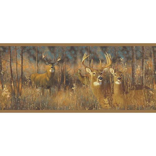 York Wallcoverings Lake Forest Lodge White Tail Deer Border: Sample Swatch Only