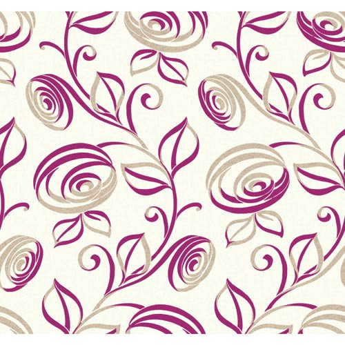 York Wallcoverings Wallpap-Her Pearl and Magenta Spiral Dance Wallpaper: Sample Swatch Only