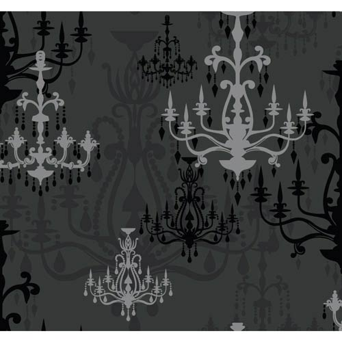 York Wallcoverings Wallpap-Her Matte Black and Brushed Silver Glitter Luminary Wallpaper: Sample Swatch Only