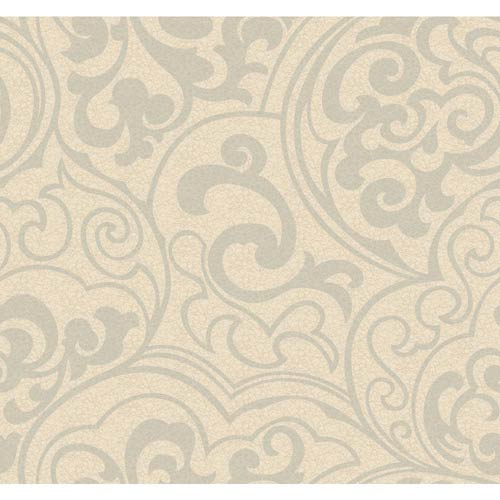 York Wallcoverings Wallpap-Her Glitter Gold and Warm Beige Divine Wallpaper: Sample Swatch Only
