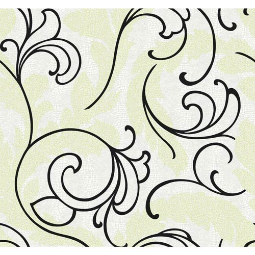 York Wallcoverings Wallpap-Her Patent Leather White, Silver Green, Matte Black Serpentine Scroll Wallpaper: Sample Swatch