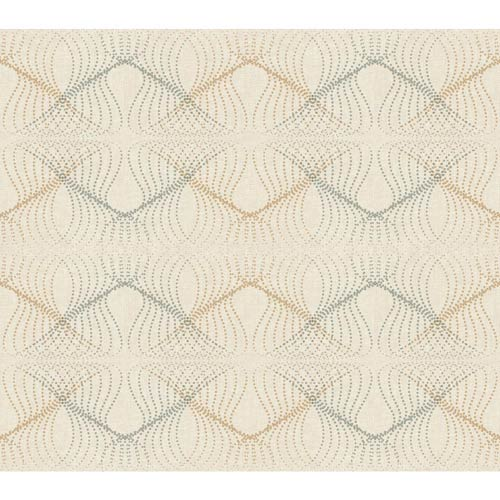 York Wallcoverings Wallpap-Her Beige and Bright Silver Optic Wallpaper: Sample Swatch Only