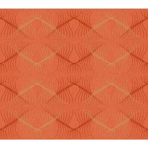 York Wallcoverings Wallpap-Her International Orange and Bright Gold Optic Wallpaper: Sample Swatch Only