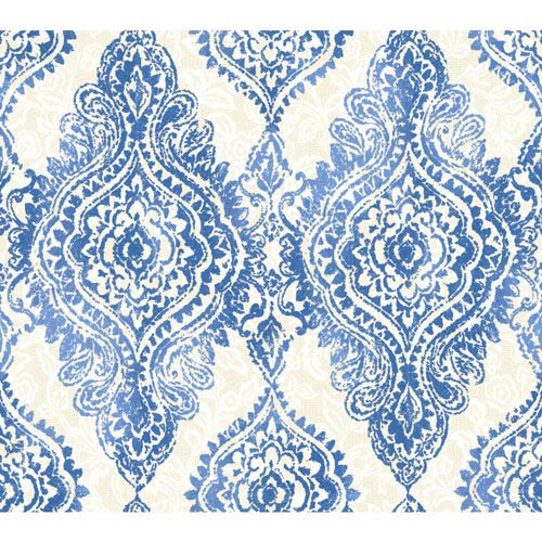 York Wallcoverings Wallpap-Her Cobalt Blue and Champagne Boho Chic Wallpaper: Sample Swatch Only