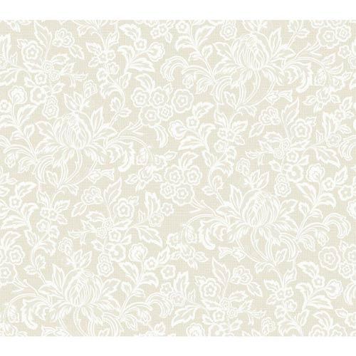 York Wallcoverings Wallpap-Her Bridal White Satin Empire Wallpaper: Sample Swatch Only