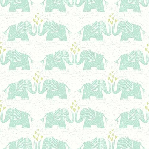 Elephants Love Green Wallpaper