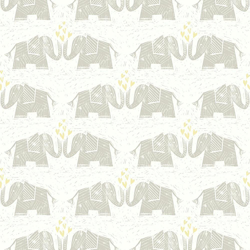 Elephants Love Brown Wallpaper - SAMPLE SWATCH ONLY