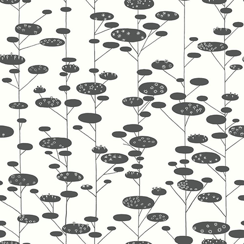 Retro Trees Black Wallpaper - SAMPLE SWATCH ONLY