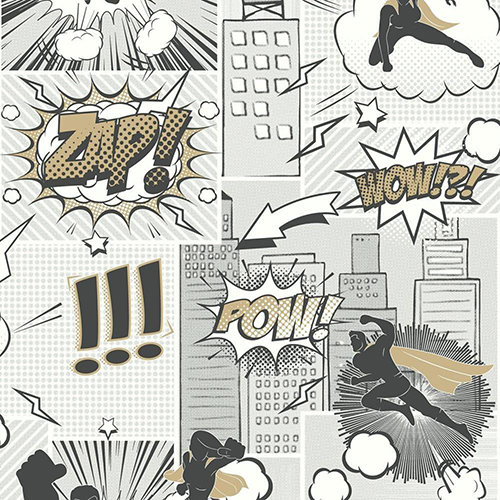 Comix Heroes Metallic Silver Wallpaper